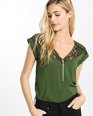 Express Womens Lace Zip Front Blouse Green X Small