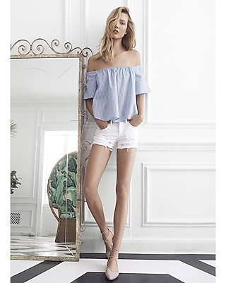 Express Womens Blue Thick Stripe Off The Shoulder Top