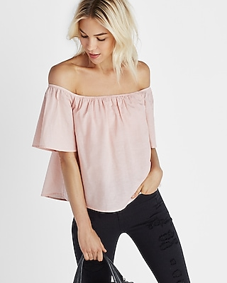 Express Womens Smocked Off The Shoulder Blouse Pink XX Small