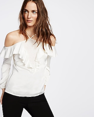 Express Womens Lace Inset Halter Ruffle Blouse