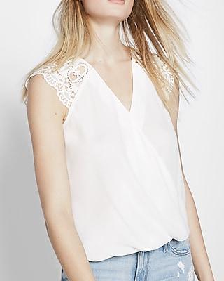 Express Womens Crochet Sleeve Surplice Blouse White X Small