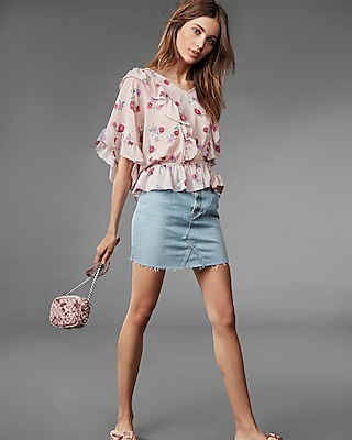 Express Womens Floral Cinched Waist Ruffle Blouse