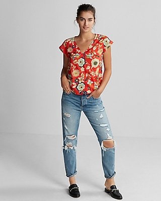 Express Womens Floral Short Sleeve Surplice Blouse
