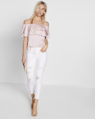 Express Womens Satin Ruffle Off The Shoulder Blouse