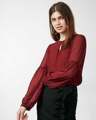 Cut-out Bishop Sleeve Blouse