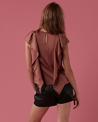 Express Womens Satin Ruffle Short Sleeve Blouse