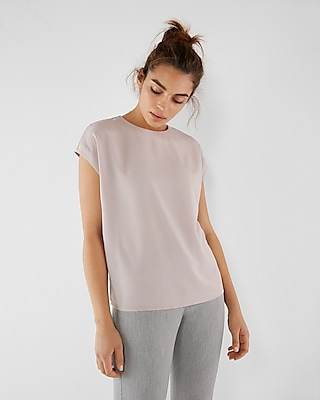 Express Womens Zip Back Crew Neck Blouse Pink XX Small