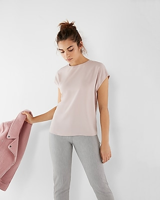 Express Womens Petite Zip Back Crew Neck Blouse Pink XXS Petite