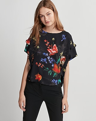 Express Womens Floral Ruffle Boxy Tee