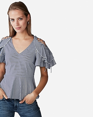 Express Womens Striped Lace-Up Shoulder Blouse