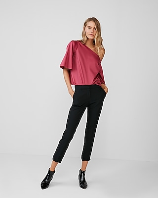 Express Womens Oversized One Shoulder Blouse Pink XX Small