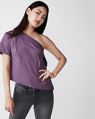 Express Womens Asymmetrical One Shoulder Top