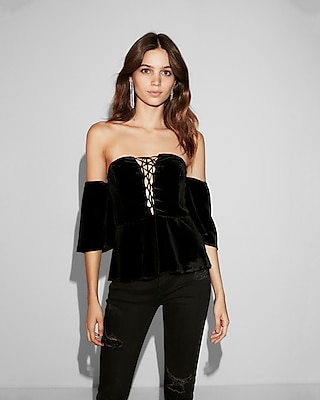 Express Womens Off The Shoulder Velvet Lace-Up Top