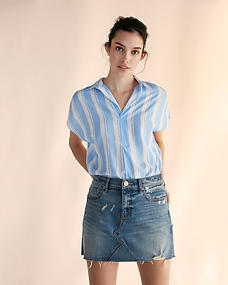 Express Womens Stripe Collared Popover Blouse
