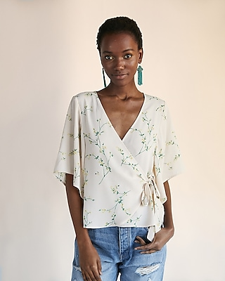Express Womens Floral Tie Front Kimono Top