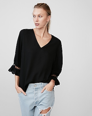 Express Womens Ruffle Trim V-Neck Blouse