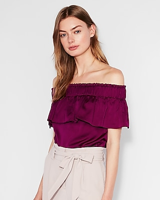 Express Womens Off The Shoulder Smocked Ruffle Top Purple Women's Xs Purple Xs
