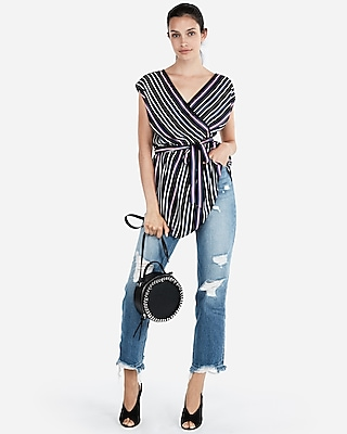 Express Womens Striped Handkerchief Hem Wrap Blouse