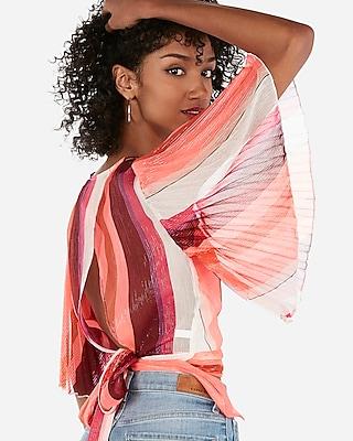 Express Womens Express Womens Metallic Striped Pleated Kimono Sleeve Surplice Wrap Blouse