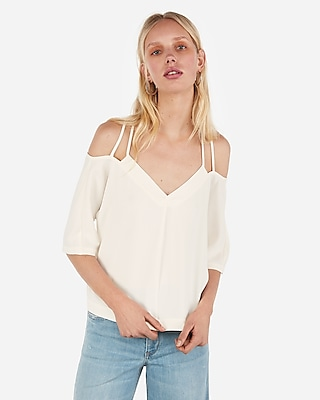 Express Womens Cold Shoulder Strappy Back Blouse