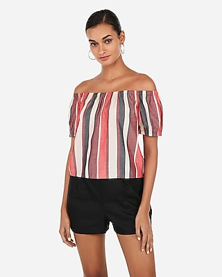 Express Womens Striped Off The Shoulder Back Bow Top