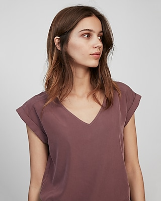 Express Womens Rolled Sleeve V-Neck Blouse