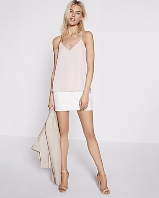 Express Womens Strappy Crisscross Cami Pink X Small