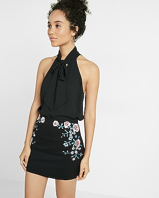 Express Womens Tie Front Cut-Out Tank Black X Small