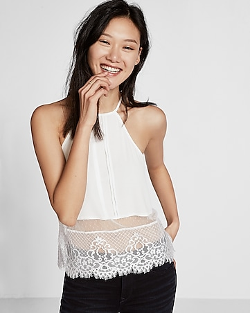 lace hem high neck cami