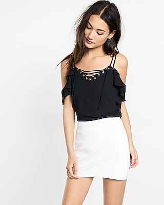 Express Womens Lace-Up Cold Shoulder Cami Black XX Small