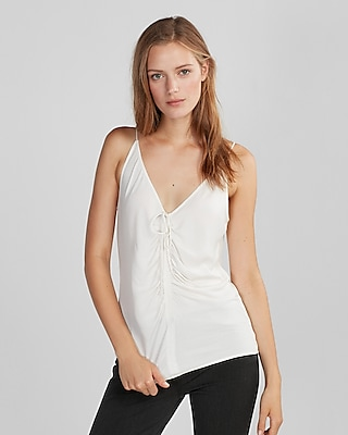 Express Womens Tie Front Ruched Cami