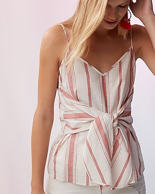 Express Womens Striped Knot Front Cami