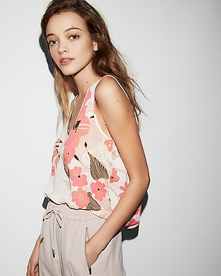 Express Womens Floral Tie Back Tank