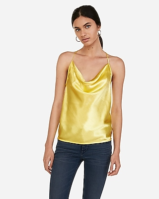 Express Womens Satin Cowl Neck T-Back Cami Yellow Women's S Yellow S