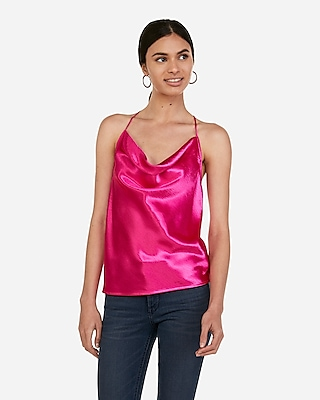 Express Womens Satin Cowl Neck T-Back Cami Pink Women's Xs Pink XS