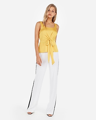 Express Womens Satin Square Neck Tie Front Cami Yellow Women's L Yellow L