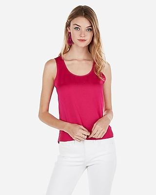 Express Womens Satin Cut-Out Back Hem Tank Pink Women's L Pink L