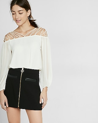 Express Womens Lace-Up Shoulder Blouse