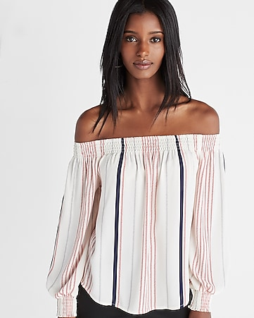 striped smocked off the shoulder long sleeve blouse