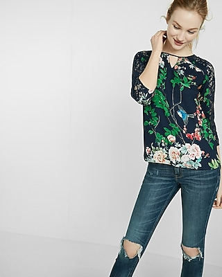 Express Womens Spring Garden Keyhole Lace Blouse