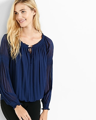 Express Womens Off The Shoulder Smocked Tie-Neck Blouse Blue X Small