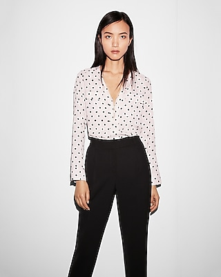 Express Womens Polka Dot Long Sleeve Zip Front Blouse