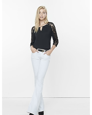 Express Womens Three-Quarter Sleeve Lace Keyhole Blouse Black X Small