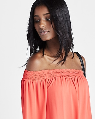 Express Womens Express Womens Smocked Off The Shoulder Long Sleeve Blouse Orange X Small