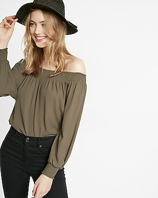 Express Womens Smocked Off The Shoulder Long Sleeve Blouse Green X Small