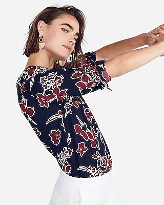 Express Womens Petite Large Floral Chelsea Shirt Blue Women's Xxs Petite Blue Xxs Petite