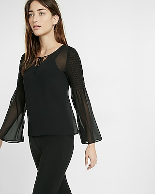 Express Womens Smocked Bell Sleeve Sheer Tie Neck Blouse Black Xx Small