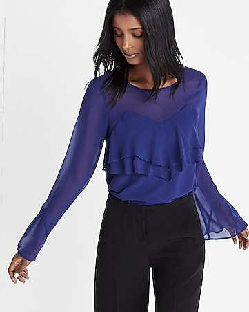 ruffle front long sleeve blouse
