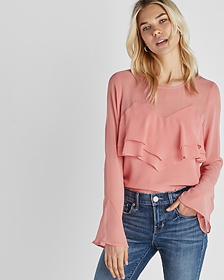 Express Womens Ruffle Front Long Sleeve Blouse Pink XX Small