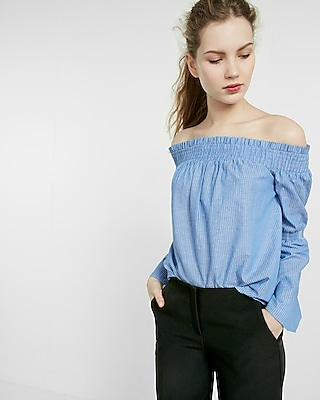 Express Womens Off-The-Shoulder Smocked Top